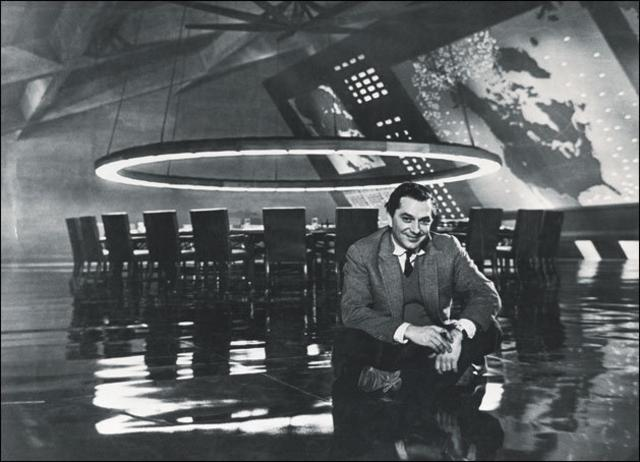 Ken Adam on the set of Dr Strangelove or: How I Learned to Stop Worrying and Love the Bomb